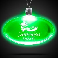 Oval Green Light-Up Acrylic Pendant Necklace