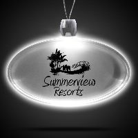 Oval White Light-Up Acrylic Pendant Necklace