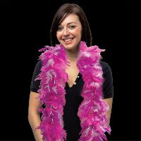 Pink & White Feather Boa with Gold Tinsel