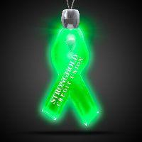 Ribbon Green Light-Up Acrylic Pendant Necklace