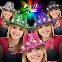 Sequin LED Cowboy Hats-Imprinted Bands Available