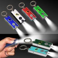 Silver & Red LED Flashlight Keychain
