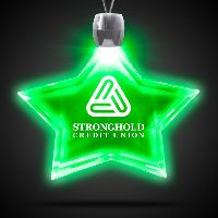 Star Green Light-Up Acrylic Pendant Necklace