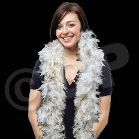 White Feather Boa with Gold Tinsel