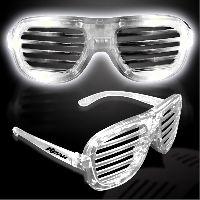 White Light Up Glow LED Slotted Glasses