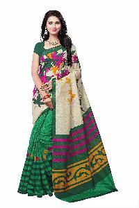Forest Green Bhagalpuri Silk Saree for women