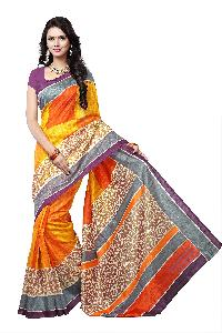 Yehee Surat Orange Bhagalpuri Silk Saree