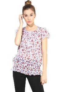 Top400316  printed white colour ladies top