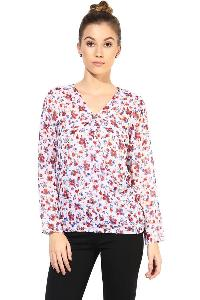 Top400331 printed white colour ladies top