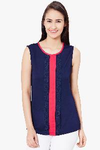 400518 Plain Blue Colour Womens Top