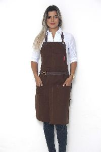 No-tie Apron - Chocolate Brown Twill