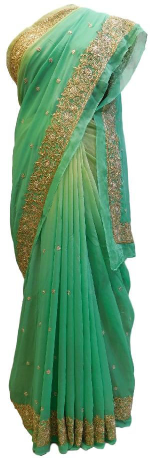 Green Georgette Hand Embroidery Work Saree