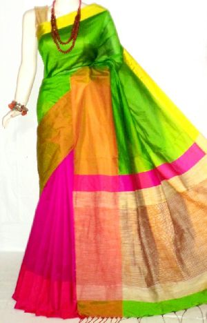 Cotton Handloom Saree Half Half