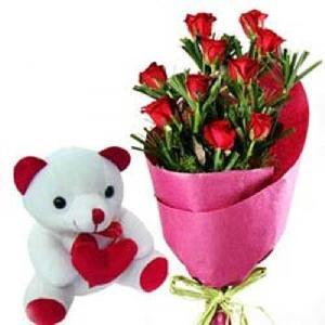 Teddy Bear 10 Pink Rose Bunch