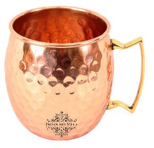 Copper Round Hammered Mug with Brass handle