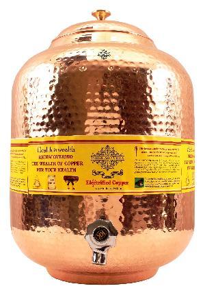 Copper Water Pot 15 Liter (Brass Lid)