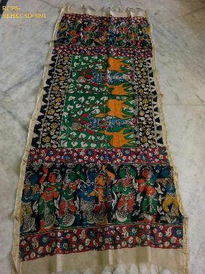 Srikalahasti Kalamkari Chanderi Silk Dupatta