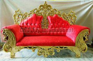 Chilifry Golden Crown Fully Carved Pure Teakwood 3 Seater Sofa Cum Couch For Home Furniture