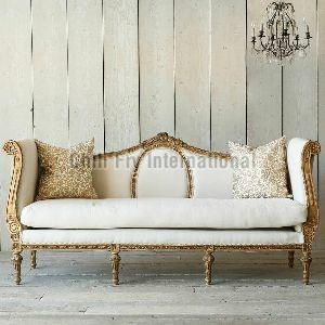 Chilifry Sheehsham Wood Made Cabriole Sofa With Excellent Carving With Golden Deco