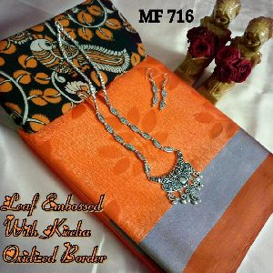 Mf-716 Brand Butter Silk Embossed Sarees
