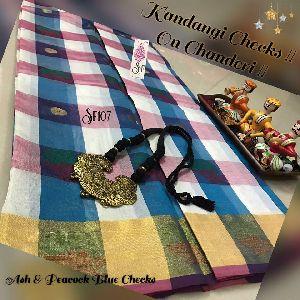 Sf107 - Chanderi Silk Cotton Tri Color Sarees