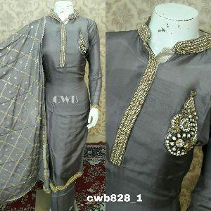 Cwb Silk Embroidered  Santoon Bottom Suits