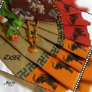 Dsr Chettinad Cotton Sarees With Printed Motifs