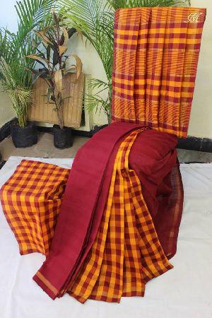 Handloom Cotton Silk Uppada Checks Sarees