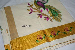 Kerela Cotton Peacock Embroidered Sarees