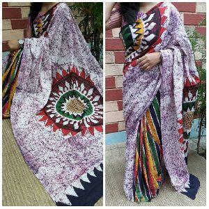 Mal Mal Cotton Hand Batik Printed Sarees