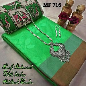 Mf Leaf Embossed Butter Silk Sarees