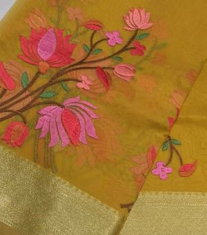 Muslin Silk Sarees With Embroidery Work