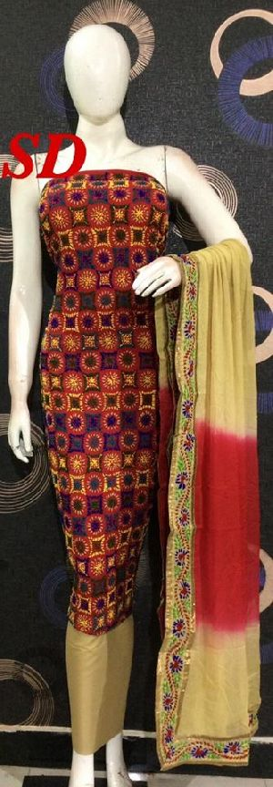 Hand Embroidery Chanderi Suits