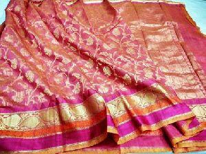 Pure Handloom Muslin Dupion Silk Sarees