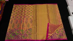Pure Kanchipuram Silk Saree With Tissue Zari Work