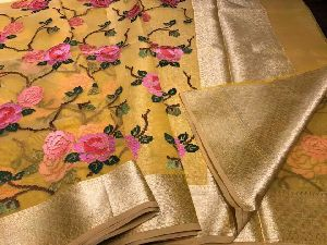 Pure Organza Sarees With Thread Weaving Work