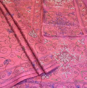 Full Kantha Work Pure Tussar Silk Sarees