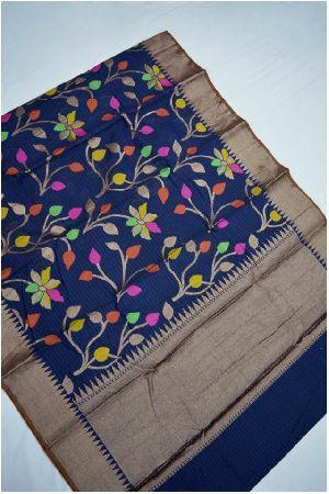 Banarasi Cotton Silk Sarees With Woven Floral Work