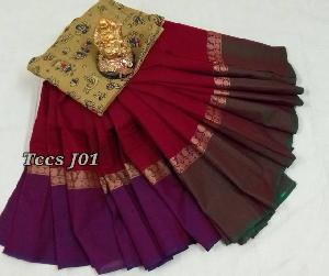 Kalamkari Blouse Chettinad Cotton Sarees