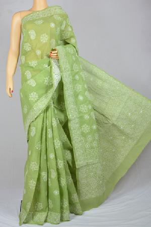 cotton chikan work sarees