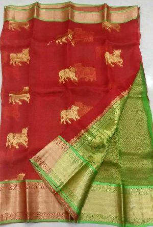 Kancgi Organza Weaving Zari Work Sarees