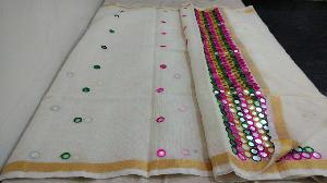 Mirror Work Kora Cotton Sarees
