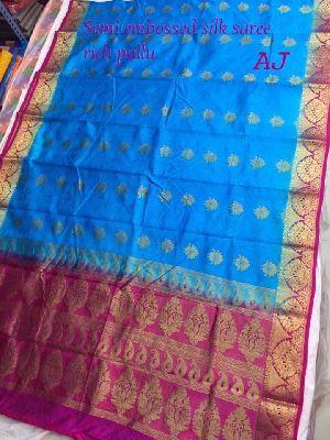 Lotus Semi Silk Embossed Sarees