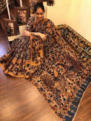 Penkalamkari Work Pure Raw Silk Sarees