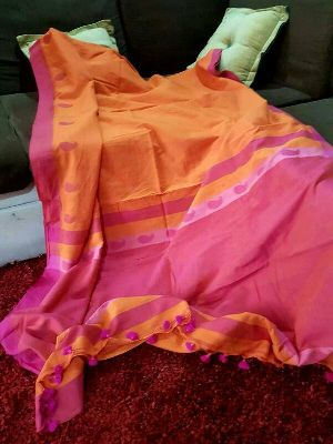 Pure Khadi Cotton Sarees With Running Blouse