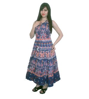 Blue Bohemian Mandala Night Wear Evening Gown
