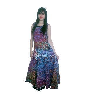 Colorful Hippie Printed Long Evening Gown
