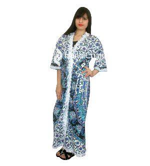 Womens Cotton Elephant Mandala Kimono Bathrobes House Coat