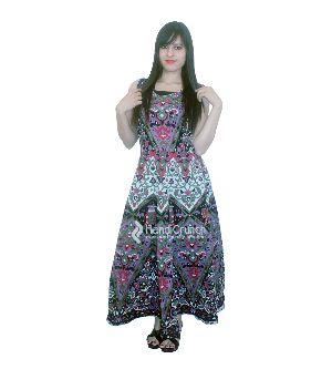 Indian Star Mandala Round Neck Evening Gown Dress
