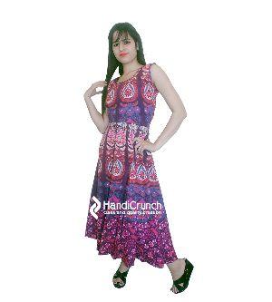 Peacock Feather Mandala Sleeveless Evening Mermaid Maxi Party Dress